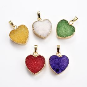 Elegant Heart Shape Agate Druzy Heart Pendant Gold Electroplated Edge and Bail