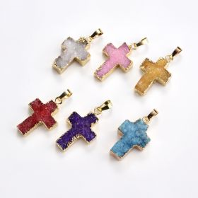 Gold Plated Colorful Agate Druzy Cross Pendant Bead Sparkly Drusy Gemstone Geode Jewelry Bead