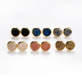 Round Druzy Agate Stud Earrings Gold Plated Copper Women Girls Jewelry