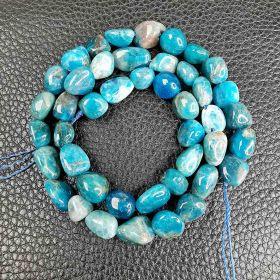 Irregular Smooth Blue Apatite Stone Beads for Jewelry Making DIY Beads Bracelet 16 inch/Strand