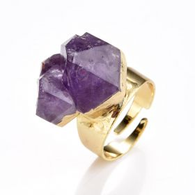 Irregular Amethyst Druzy Rings Adjustable Gold Plated Band