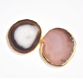 Gold Edged Agate Silce Drinks Coaster Geode Stones Jewelry Making Craft