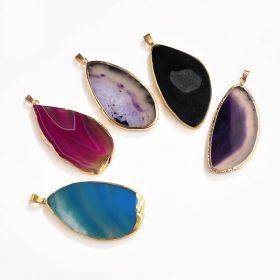 Random Color Irregular Agate Stone Slice Charms Pendants DIY Fit for Necklaces