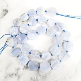 """Polygon Blue Lace Agate Loose Beads Energy Power Stone Beads For Jewelry Making 16"""""""