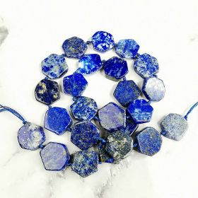 Flat Blue Lapis Lazuli Healing Power Energy Stone Beads for DIY Handmade Bracelet Jewelry 16 inch
