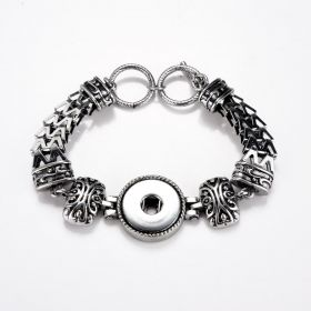 Alloy Vintage Punk Style Snap Bracelet Wristband with Adjustable Toggle Clasp