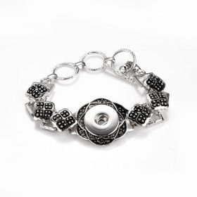 Flower Design Noosa Style Snap Bracelet with Adjustable Toggle Clasp Fits 18-20mm Snap Charm Buttons