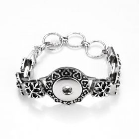 Flower Design Snap Bracelet Bangle Antique Silver Tone Fits 18-20mm Snap Charms