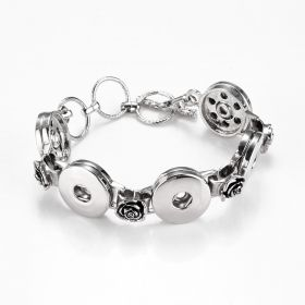 Alloy Toggle Clasp Snap Charm Bracelet Rose Flower Style for 5 Snap Buttons 18mm 19mm