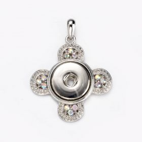 Alloy Snap Button Round Cross with Rhinestone Charm Pendant For DIY Jewelry