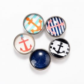 18mm Alloy Snap Button Charms Anchors Fits Ginger Snaps Jewelry