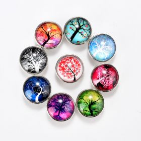 18mm Alloy & Glass Tree of Life Snap Button Charms for DIY Snap Jewelry Bracelet Ring