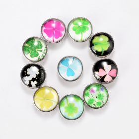 18mm Alloy Lucky Clover Glass Cabochon Snap Buttons DIY Snap Jewelry Findings Multi Pattern At Random