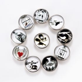 Bird Cage Glass Cabochon Birds Snap Button Jewelry Charm 18mm DIY Snap Jewelry Findings