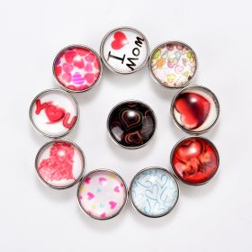 Love Snap Button Jewelry Charm Mothers Day Heart Snap Charm Fits for Snap Bracelet Ring
