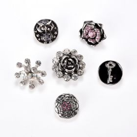 Mixed Alloy Rhinestones Snap Buttons Jewelry Charms DIY Accessories Multiple Pattern