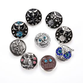 Owl Snap Button Charms Alloy Rhinestone 18mm Dia. Fit Snap Jewelry Bracelet