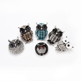 Alloy Rhinestone Owl Snap Button for Snap on Jewelry Interchangeable Jewelry