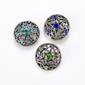 Alloy Rhinestone Hollow Flower Snap Button Jewelry Accessory for Women DIY Bracelet Ring