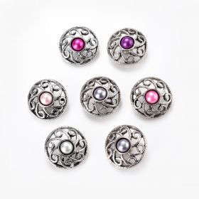 Alloy Hollow Flower Ginger Snap Button Jewelry Charm Accessory for Women DIY