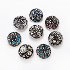18mm Snap Buttons Round Rhinestone Flower Pattern Carved At Random Fit Snap Button Bracelets