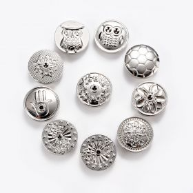 Round Silver Tone Zinc Alloy Snap Buttons for DIY Snap Jewelry Ring Bracelet Making 18mm Dia.