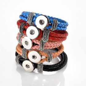 Multi colors PU Leather Bracelets Fit for Snap Button Charms 8-8.5""