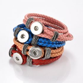 PU Leather Snap Button Multiple Layers Bracelet Bangle Jewelry for Women DIY 14-16 inch