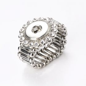 Interchangeable Mini 12mm Snap Jewelry Adjustable Stretch Ring Rhinestone Halo Alloy