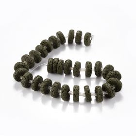 Dyed Black Lava Stone Coin Shape Oblate Natural Volcanic Rock Beads Flat Round for Bracelet Making DIY