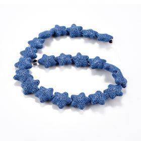 Five-pointed Star Shape Lava Beads Dyed Blue Natural Lava Rock in Starfish for Beading Jewelry Making