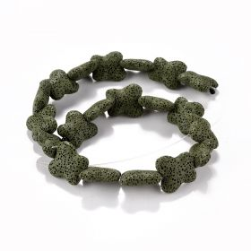 21*8mm Unique Shape Dyed Green Lava Stone Beads for Women DIY Handmade Jewelry Accessories