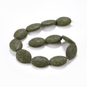 "Dyed Green Lava Gemstone Oval Loose Stone Beads 15.5"" Handmade Bracelet Necklace Jewelry Accessories"