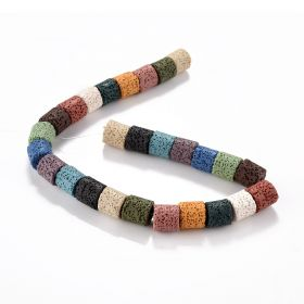 Column Dyed Mixed Color Lava Rock Stone Beads Strands for DIY Necklace Bracelet Earring Fashion Jewelry Making