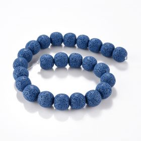 Blue Lava Rock Stone Semi Precious Gemstone Round Loose Beads Energy Stone for Jewelry Making 16""