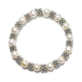 8-9mm Potato White Freshwater Pearl Stretch Bracelet Antique