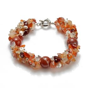14mm Round Red Agate Freeform White Pearl Bracelet