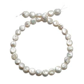 12mm Coin White Freshwater Cultured Pearl Loose Pearls Strand CFP01