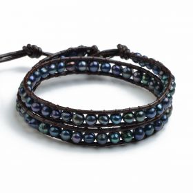 Potato Black Freshwater Pearl Bracelet Chic Beauty Leather Beaded 2 Wrap Bracelet Jewelry