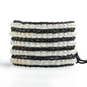 Black Leather White 4-5mm Potato Freshwater Pearls Fashion 5 Wrap Bracelet