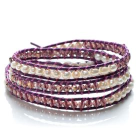 3 Wraps Bracelets Handmade Potato White Pearls with Purple Crystal Beaded Leather Bracelet