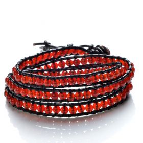 Red Agate Smooth Round Beaded 3 Wrap Bracelet Handmade on Black Leather Strand Bracelets
