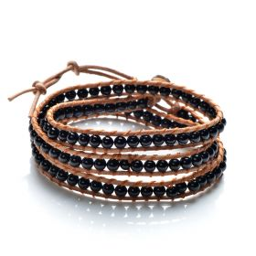 Black Agate 4-5mm Smooth Round Beaded 3 Wrap Bracelet Stackable Leather Jewelry