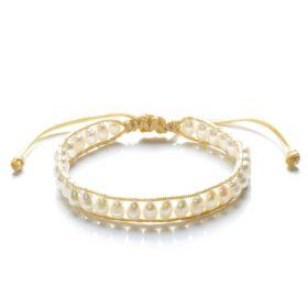 Rice 5-6mm Freshwater Cultured White Pearls Single Wrap Bracelet Adjustable