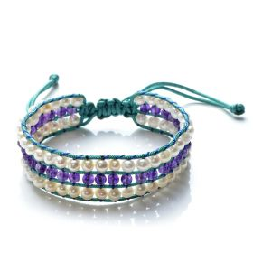 Hand Woven Potato White Pearls and Amethyst Beaded Cord 3 Row Wrap Bracelet