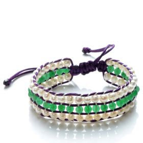 Potato 4-5mm White Pearls and Green Jade 3 Row Wrap Nylon Cord Hand Weave Bracelet