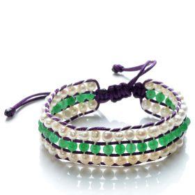 Potato 4-5mm White Pearls and Green Jade 3 Row Wrap Nylon Cord Hand Weave Bracelet