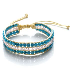 Turquoise and Pink Crystal Beaded 3 Row Wrap Bracelet Handmade Fashion Women Jewelry