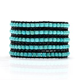 Fashion Handmade Beaded 4-5mm Blue Turquoise 5 Wrap Bracelet on Black Leather