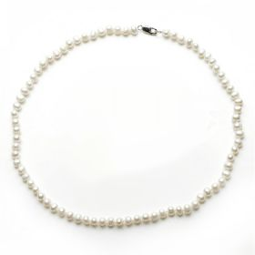 5-6mm White Potato Freshwater Pearl Necklace 925 Silver Clasp